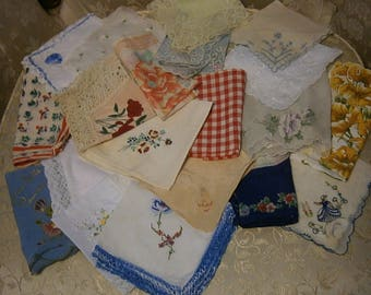 Lot of 10 Assorted Ladies Handkerchiefs
