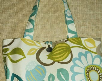 Reversible Tote Bag Turquoise Floral Tote Bag Turquoise Chevron Tote Bag Cotton Tote Bag Beach Bag Overnight Bag Book Bag