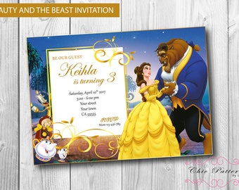 Beauty and the beast invite Etsy
