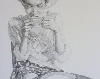 "original pencil portrait drawing by Anita Dewitt - study for ""afternoon tea"""