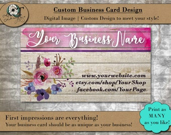 Barnwood Water Color Floral Style | Standard Business Card | 3.5 x 2 inch | Double Side | Business Card Design | Premade Design