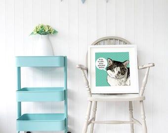Funny cat posters, cat art, best cat lover gift, cat poster art,  gift for cat lovers, funny cat wall art, cat pop art, cat wall decor, cats