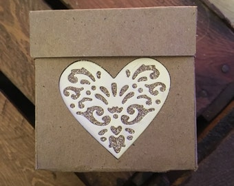 x10 Kraft Favour Boxes with heart detail