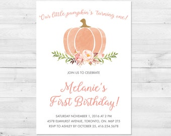First Birthday Invitation Girl, Little Pumpkin, Fall Birthday Invitation, Floral, Watercolor