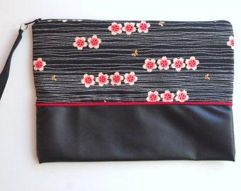 Black pouch handbag fabric slung Japanese