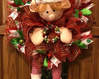 Elf Wreath, Elf Body Wreath, Christmas Elf Wreath, Jingle Bell Wreath