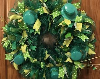 St. Patrick's Day Wreath, St. Patty Wreath, Happy St. Patrick's Day Wreath, Leprechaun Hat Wreath, Shamrock Wreath