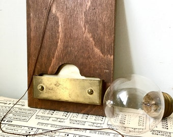 Vintage 1950s Wooden and Brass Board with Attached German Sclmeider Pen - Doctor's Office Practice - Supply - Message Bulletin Board