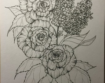 Roses and lilacs Ink Illustration