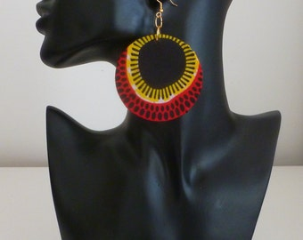Ankara Earrings - Large African Earrings-New Spring Design - Afrocentric Jewelry