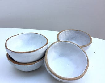 White stoneware ceramic breakfast bowl