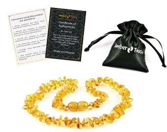 Baltic Amber Teething Necklace For Babies (Unisex) - Anti Flammatory, Drooling & Teething Pain Reduce Properties