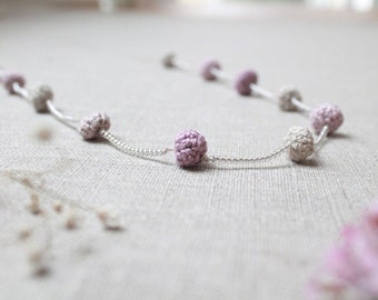 "Linen Necklace ""Cherry Blossom Petals"""