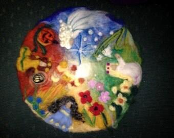 Four seasons in felt, Waldorf season art, felted seasonal calendar, felt art, needle felted painting