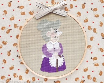 Little Red's Grandma Cross Stitch Pattern PDF | Little Red Fairy Tale Series | Easy | Modern | Beginners Counted Cross Stitch | Download