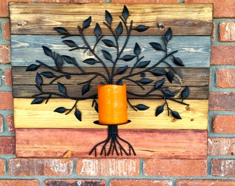 Stained wood wall decor/rustic wood/wood candleholder/wood wall decor/wall candleholder/stained wood candleholder/metal and wood wall decor