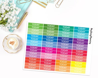 64 Multicolour 'Today' Headers | Erin Condren Vertical Life Planner Stickers