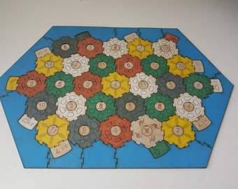Interlocking engraved settlers of catan board, pre-printed wood, 5-6 player size. In stock.