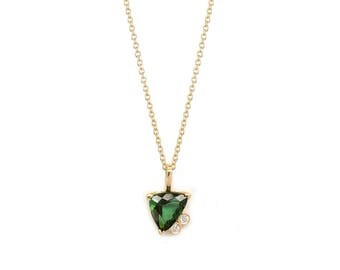 Green Tourmaline Diamond Cluster Necklace,Solid 14K Yellow Gold Necklace,1.44CT Green Trillion Cut Tourmaline Pendant Necklace,One of a Kind