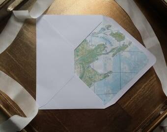 Lined envelopes, padded envelopes, world map, world map, envelopes, paper, stationery, invites, destination wedding