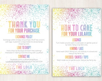 Personalized Thank You, Care Card / Home Office Approved / Return Policy, Care Instructions Card / For Fashion Consultants, Retailers