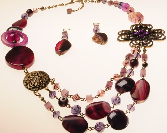 Set vinous necklace earrings agate choker gift Valentine Day beautiful woman classy crystal gift for his birthday vinous agate idea gift