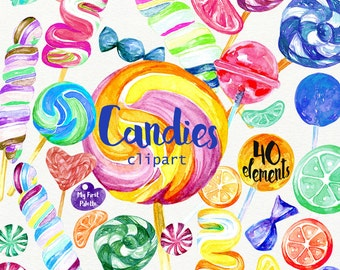 Watercolor Candy clipart 400 dpi PNG, food collection clipart, sweets, lollipop, PNG on transparent background for scrapbooking, DIY cards