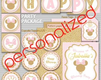 Pink and Gold Minnie Mouse Birthday Party Package, First, 2nd Birthday Decoration, 3rd, Gold Glitter, Polka Dot invite, Girl, Printable pack