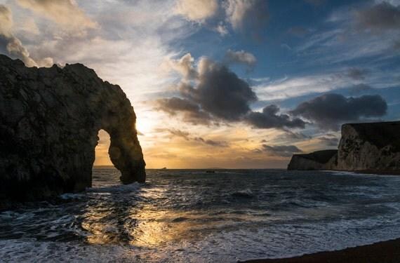 DURDLE DOOR SUNSET. Jurassic Coast, Dorset print, Seascape, Sunset, Durdle Door, Photographic print, Beach print.