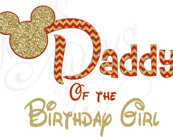 Daddy Birthday Girl Minnie Mickey Red Gold  Mouse Mom Birthday Boy Shirt DIY Iron On Digital Art Matching Red Black Dot Birthday