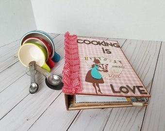 retro handmade scrapbook recipe mini album - Cooking is love