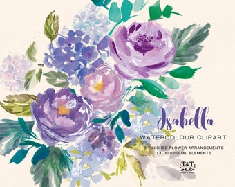 Purple Peonies flower clipart - Isabella. Perfect for wedding invitations, wedding clipart. Beautiful, washy watercolour, purple florals.