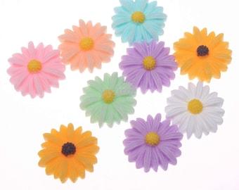 Resin Flowers, Flower Flatbacks, Flower Applique, Flower Embellishments, Large Sunflowers, Flower Cabochons, Daisy Flatbacks,