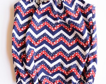 Baby Toddler Fourth of July Romper, American Romper, Chevron Romper, Baby Fourth of July Outfit