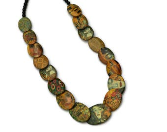 Klimt, new art necklace necklace, necklace beads, the kiss of Klimt, long necklace, gift for her, mother's day