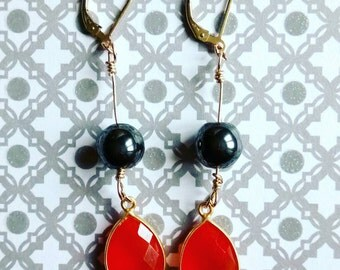 "Earrings ""pending"" gold filled 14 carat hematites and carnelians/jewelry/stones/the jewelry of Zelina"