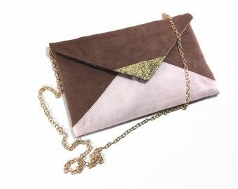 Brown and pink clutch bag light pastel glitter gold chain shoulder strap