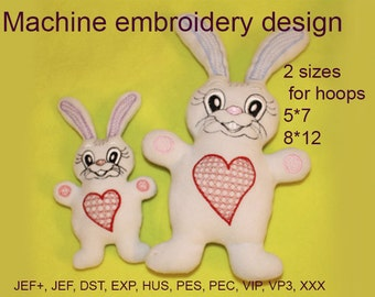 Machine embroidery designs File . Bunny.  Soft toy In the Hoop.  Stuff Toy. hare  ITH  Embroidery Design.  Instant Download.