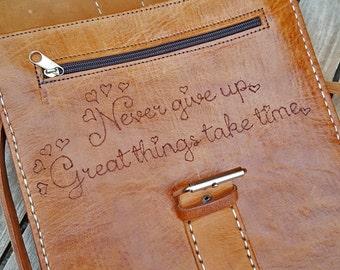 Genuine Leather, Messenger Bag Leather, Buffalo Leather Bag, Never give up !