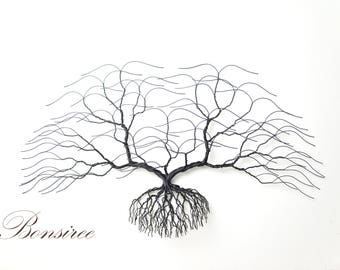 "Large Metal Wall Art, Black Wall Decoration,Original Bonsiree Handmade Wire Tee Sculpture 28""x 14"""