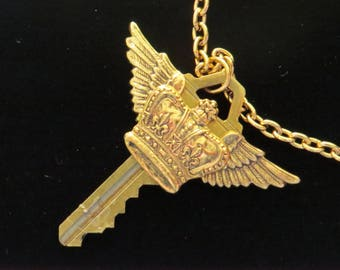 Steampunk Flying Crown Altered Key Necklace Gold Plate & Brass Wings Victorian Winged Kings or Queens Crown Gift Key010