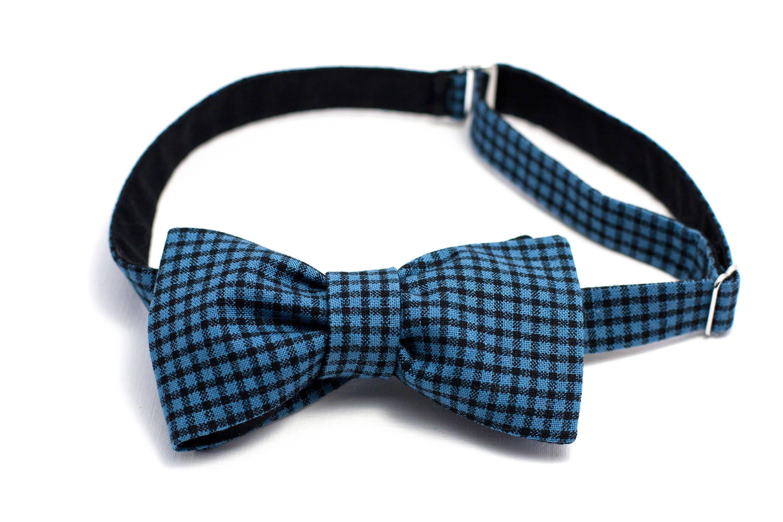 Double Sided Bow Tie Dark Blue Cell Groomhandmade Tying Bow