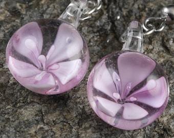 3.7cm Pink Flower Earrings - Glass Earrings, Pink Earrings, Pink Glass Jewelry, Flower Jewelry, Glass Flower, Pink Jewelry E0197