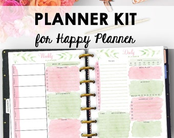 Happy Planner Printable, Daily Planner Pages, Happy Planner Inserts, Weekly Planner Printables, Weekly Printable, Goal Planning Pages, 7 x 9