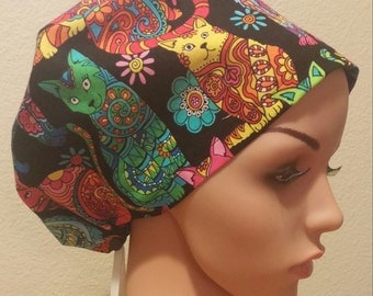 Women's Surgical Cap, Scrub Hat, Chemo Cap, Colorful Cats