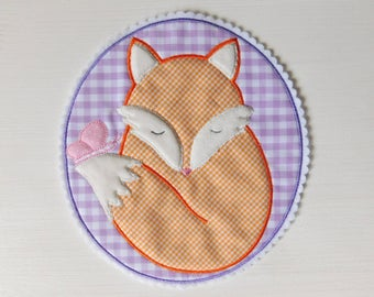 Patch Applique Fox Butterfly Lila Pink Orange XXL,  Embroidered Iron On Patch Applique  Fox Butterfly Lila Pink, Large