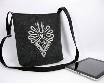 Felt crossbody bag,   Women felt bag, , Felt shoulder bag, Embroidery
