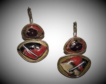 "Earrings ""4477""""carried out in block polymer and metal"""