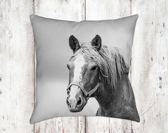 Horse Decorative Pillow - Throw Pillows - Equine Decor - Horse Decor - Gifts - For Her - Farm House Decor - Black White
