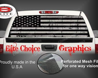 American Flag Distressed Black and Grey Rear Window Graphic Tint Decal Sticker Truck SUV Van Car